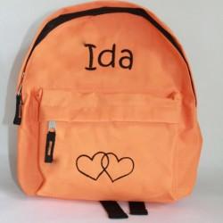 Orange børne rygsæk med navn på