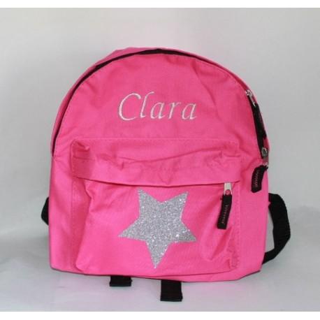 Pink børnerygsæk med glimmer stjerne og navn på