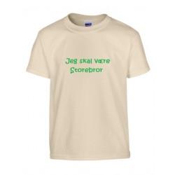 Sandfarvet børne t-shirt med navn på