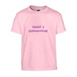 Lyserød børne T-shirt med navn