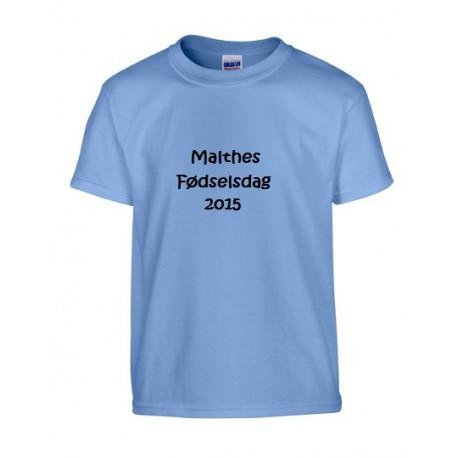 Lyseblå børne T-shirt med tekst