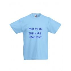 Lyseblå børne T-shirt med tekst på