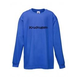 Blå langærmet børne t-shirt med tekst på