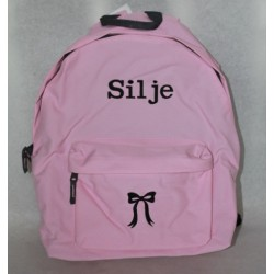 Lyserød rygsæk med navn på -Skoletaske
