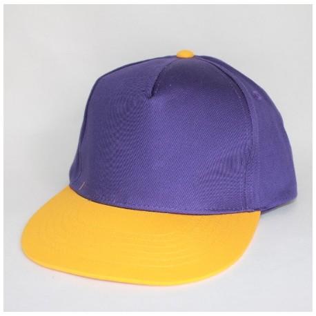 Lilla og gul Junior flatpeak cap med navn på