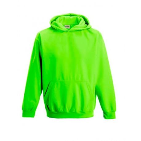 Neongreøn børne hættetrøje med tekst 5/6 år