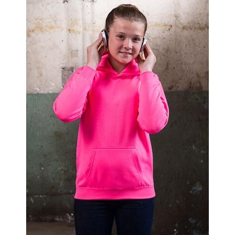 Neon pink børne hættetrøje med tekst 5/6