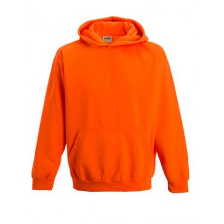 Neon orange børne hættetrøje med tekst 7/8 år