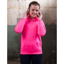 Neonpink børne hættetrøje med navn 7/8 år