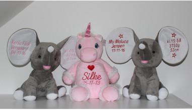 Cubbies elefanter og enhjørning bamser med personlig tekst